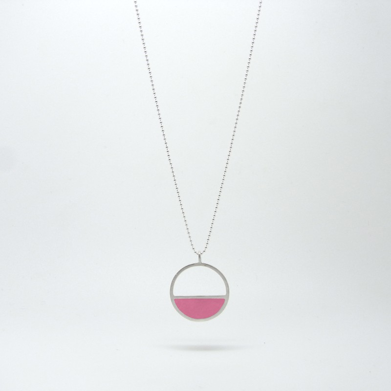 Semi Circle Necklace Pink