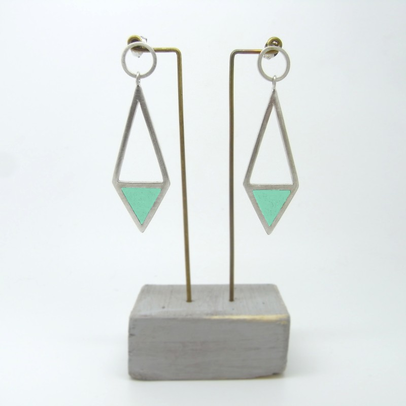 Diamond Shape Drop Earrings Green