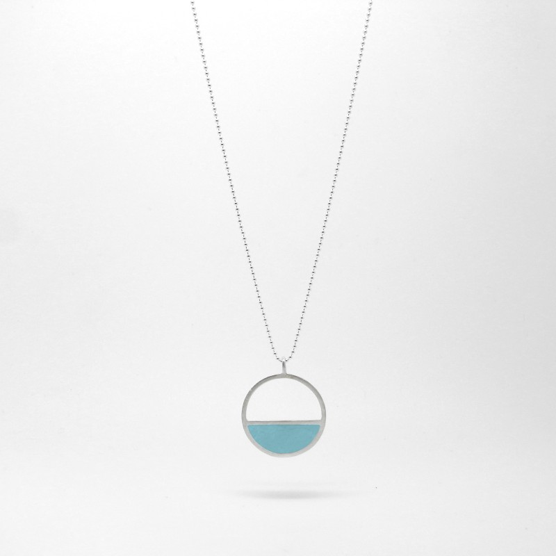 Semi Circle Necklace Blue