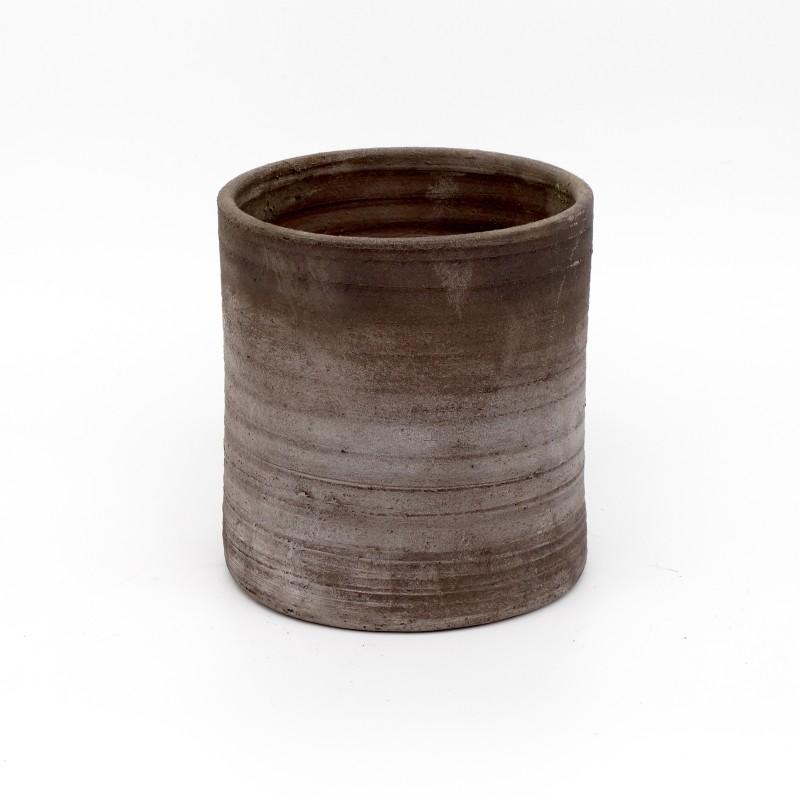 Black Terracotta Vase - medium round