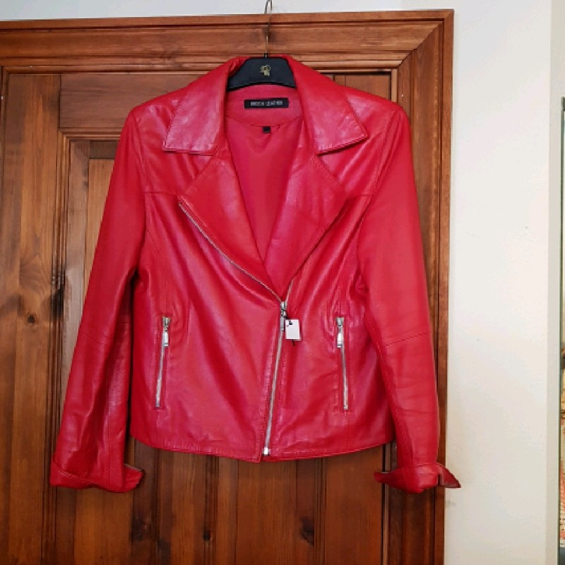 Broch leather skindjakke str 38