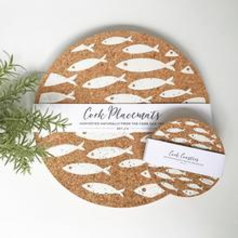 Thin cork coasters/placemats - 4-pack