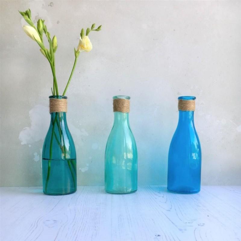 Blue glass bottles set