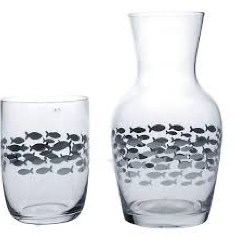 Silver fish glass and carafe set