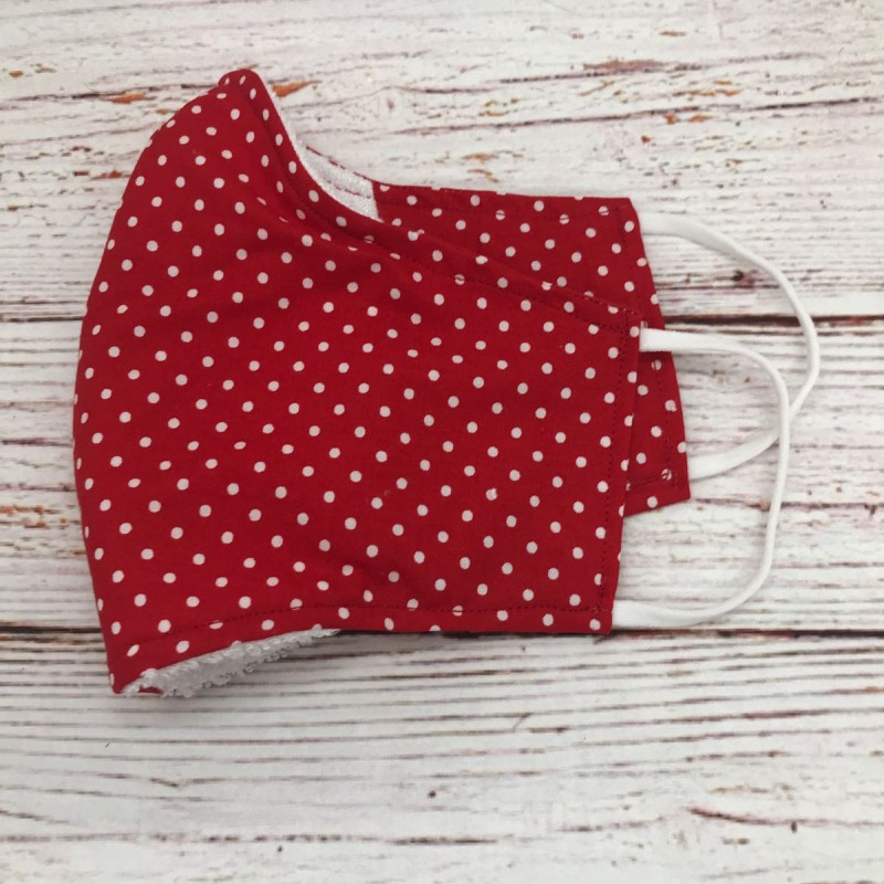 Face Mask - red dotty