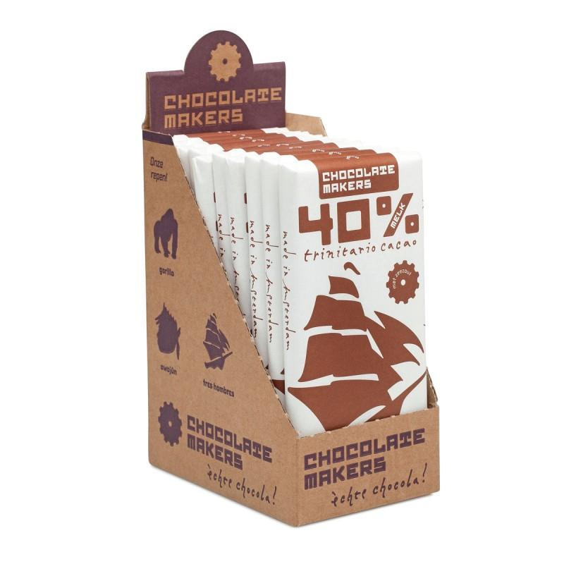 Bio Schokolade 40%, mit Milch, Tres Hombres