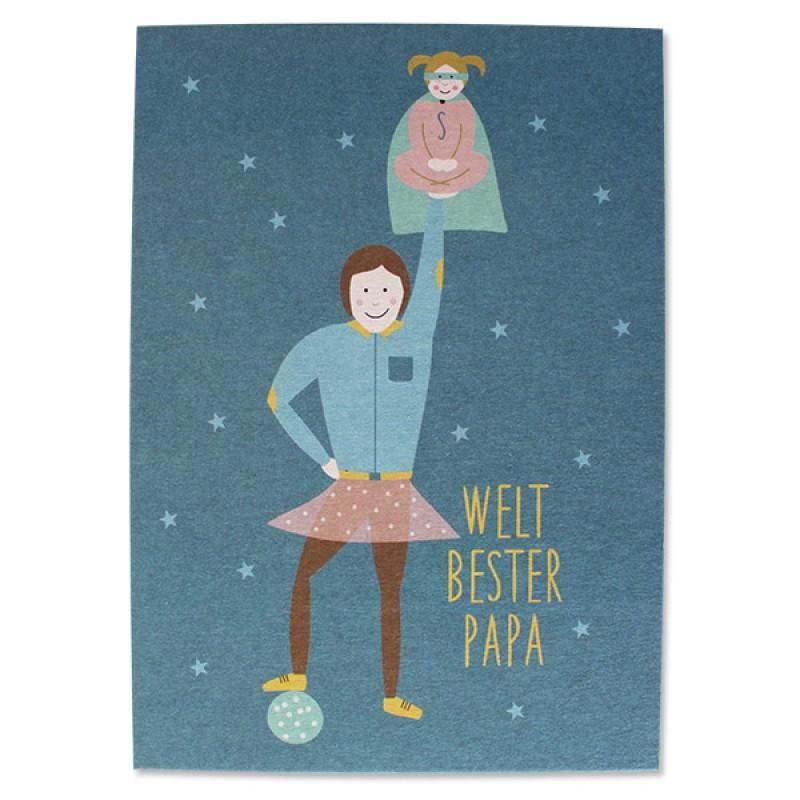 Postkarte bester Papa/ beste Mama, Ava&Yves, Recyclingpappe