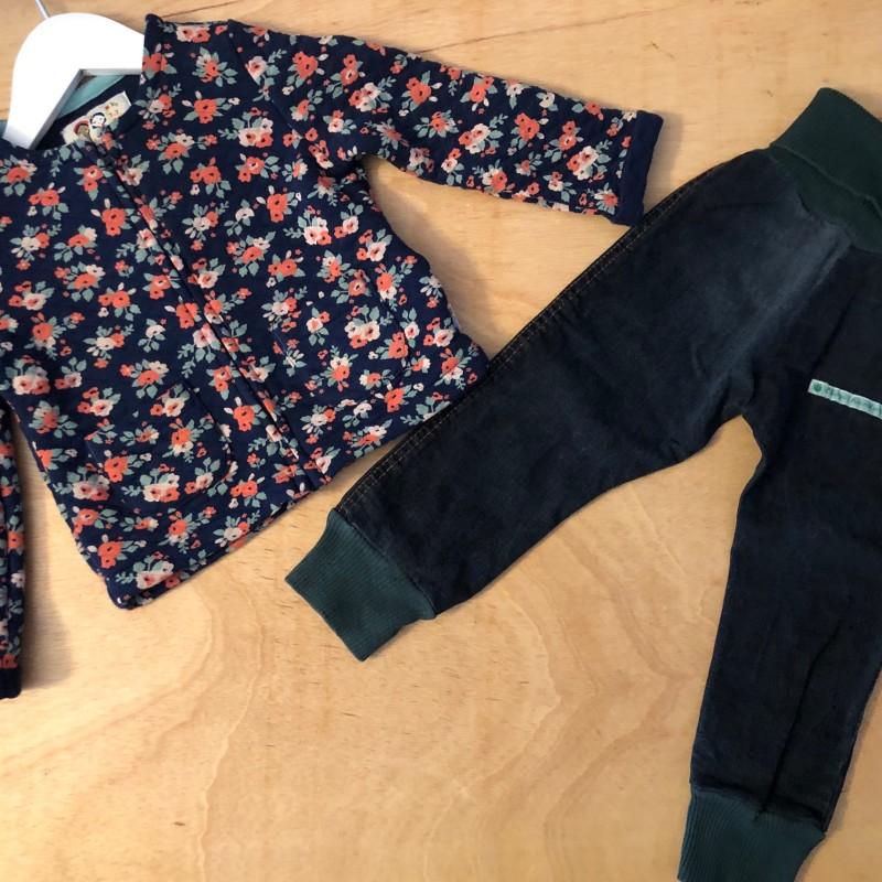 Gr. 92 Set Upcycling Jeans Blumen Sweatjacke