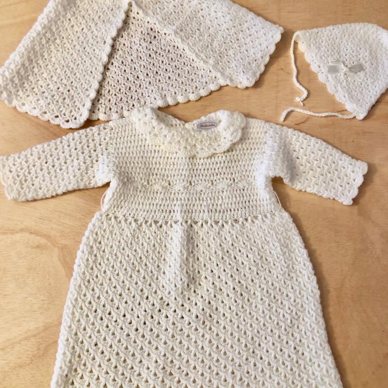 Gr. 74-80 Tauf-Set: Häkel-Kleid, Poncho, Mütze