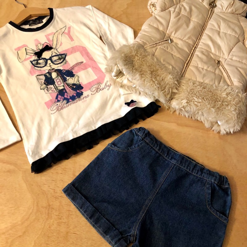 Gr. 110 Ostern Set Blumarine Strass Shirt und opt. Mayoral Weste & People wear Organic Jeans Shorts