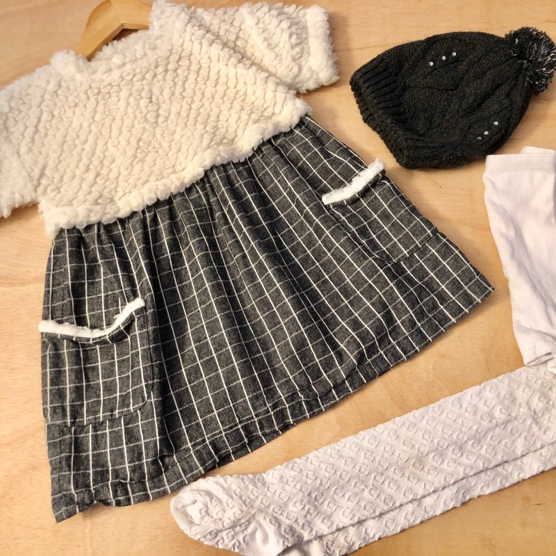 Gr. 104 Set Benetton Kleid, Strumpfhose