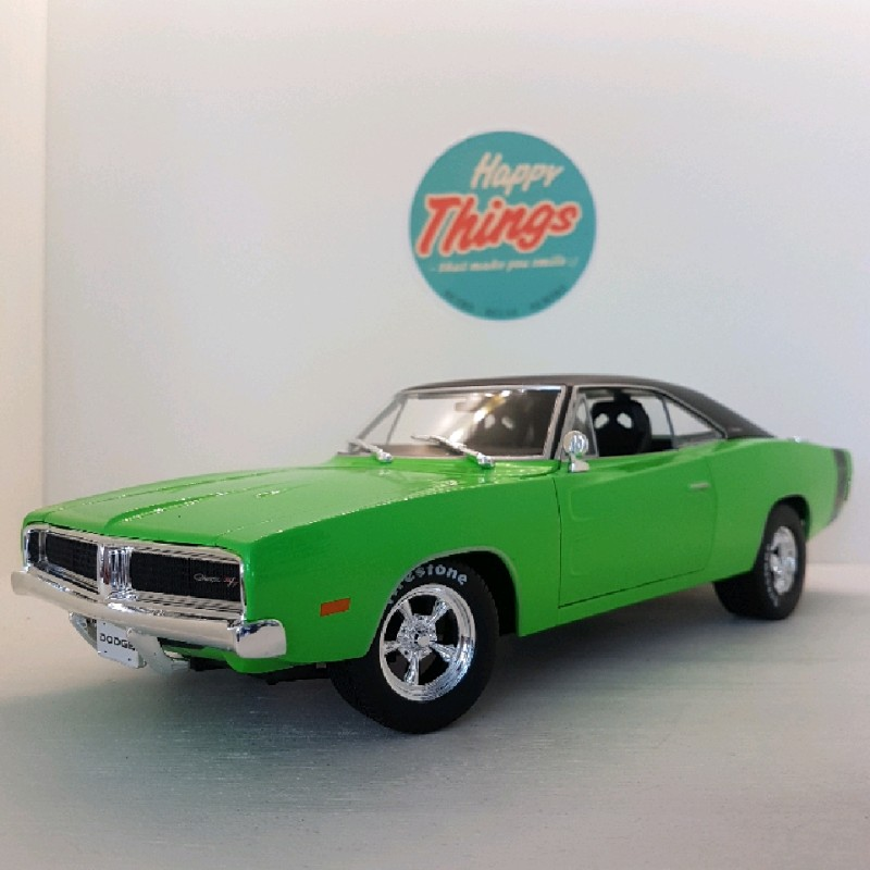 1:18 Dodge Charger RT Coupe 1969, grøn, Welly, 1:18