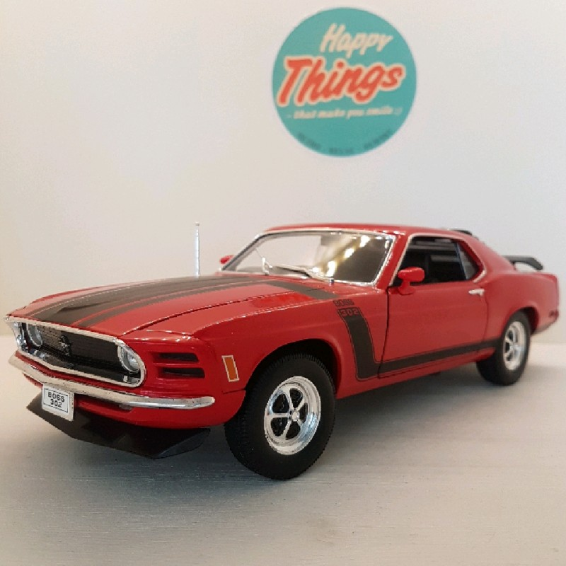1:18 Ford Mustang Boss 302 1970, rød, Welly, 1:18