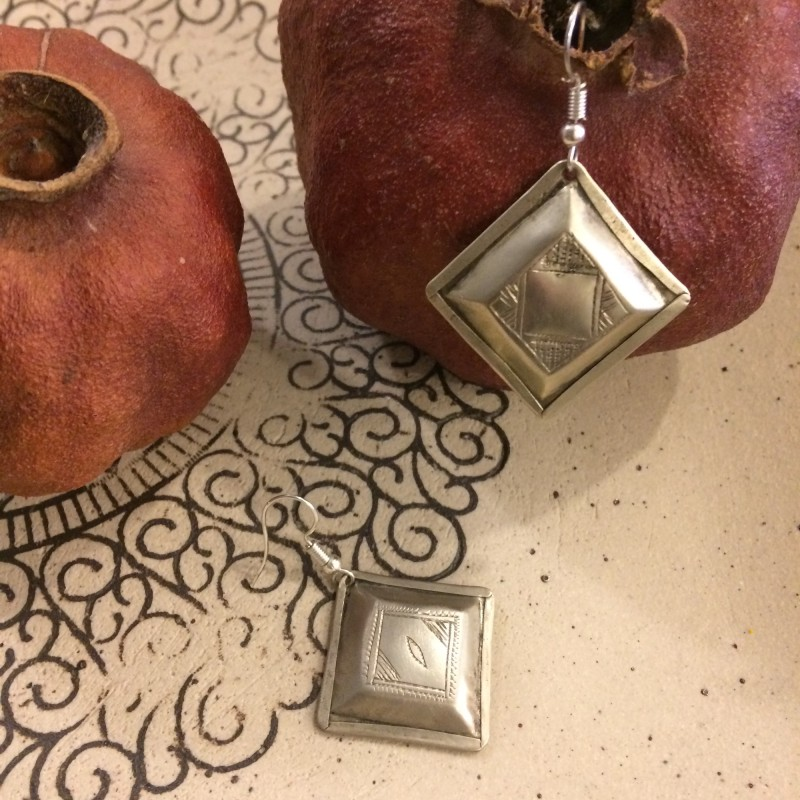 Tuareg Mismatch Square Silver Metal Earrings
