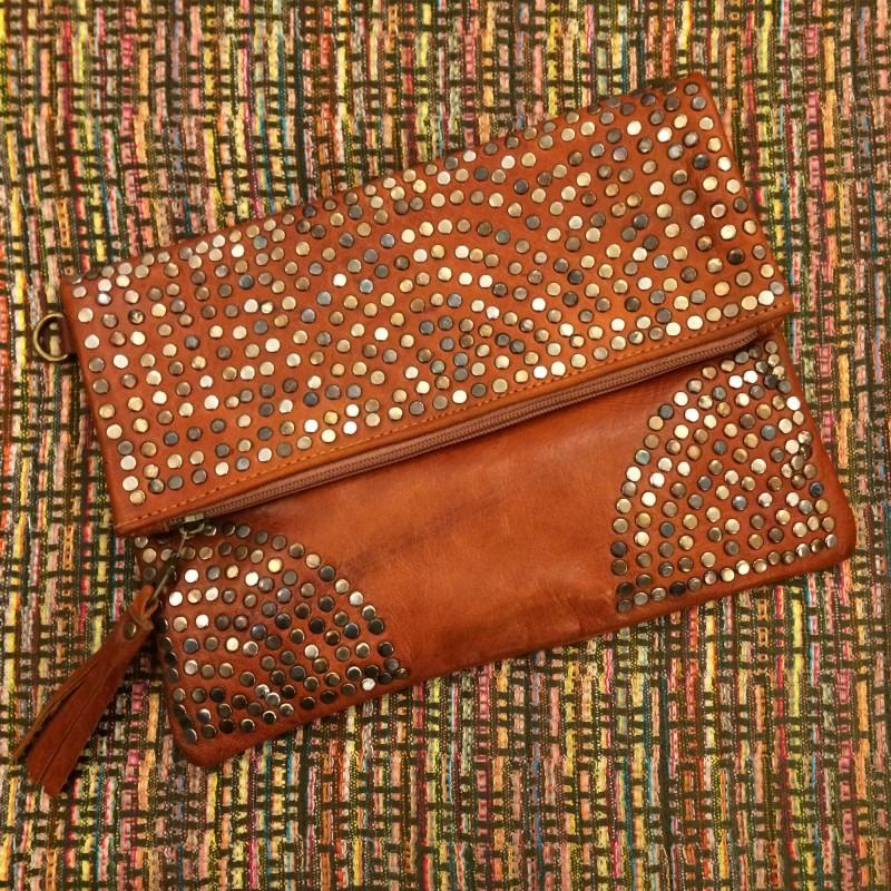 Light Brown Moroccan Leather Studded Handbag