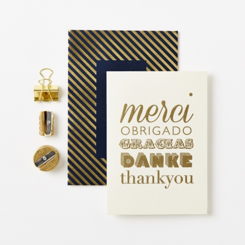 Gold Luxe Thank You Card by Katie Leamon