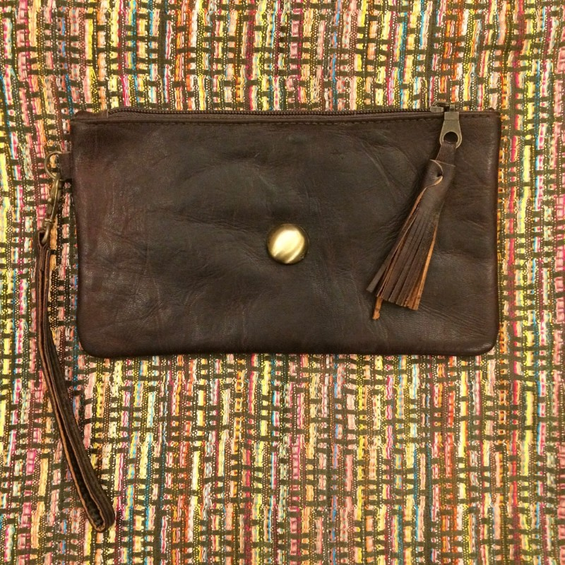 Moroccan Dark Brown Leather Pouch with Stud & Tassel