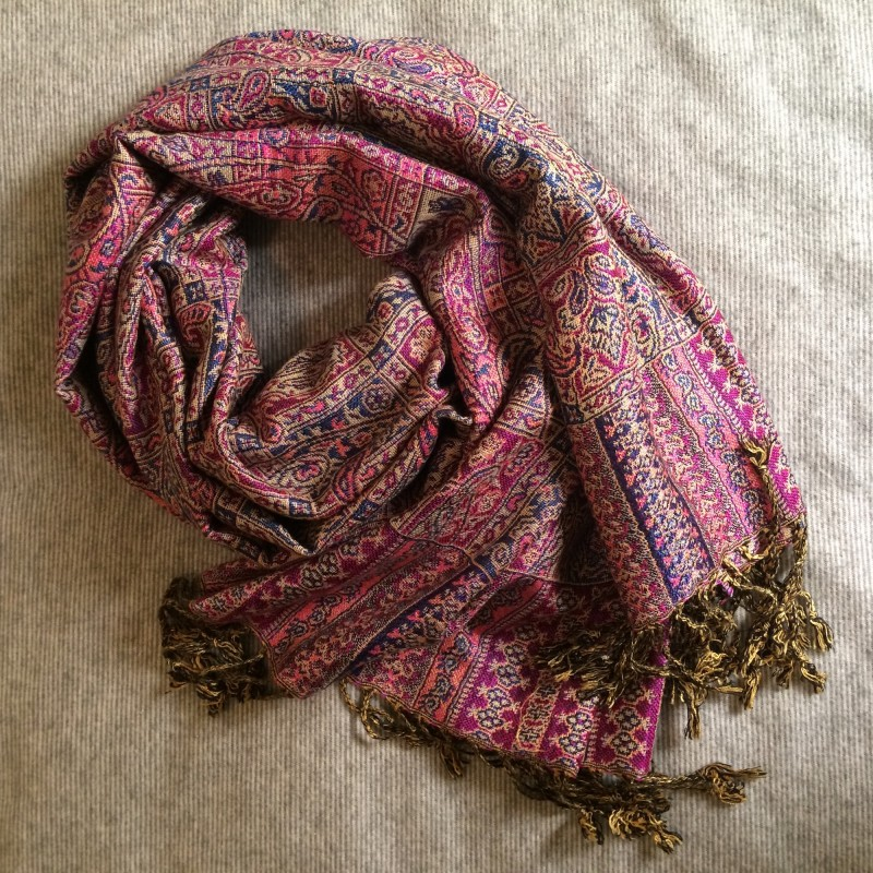 Soft Paisley Pashmina Scarf in Purple & Pink