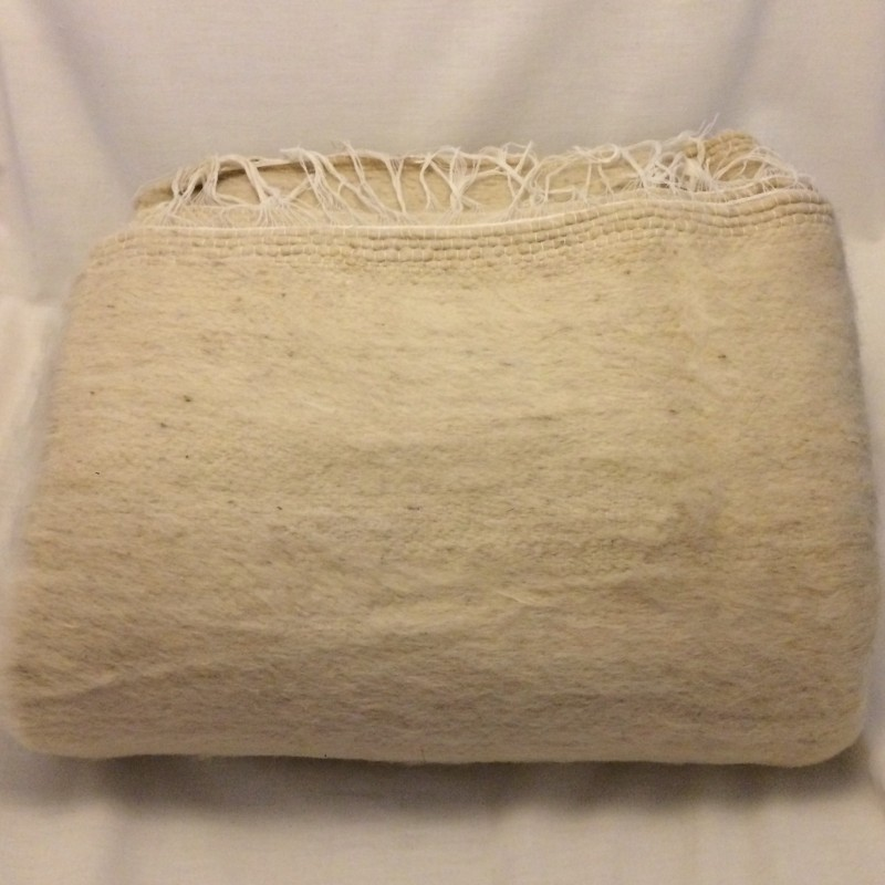 Handwoven Large Bedouin Cream Wool Throw