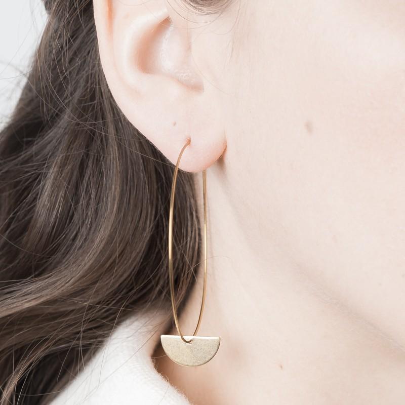 Big Brass Hoop Earrings with Semi-Circle