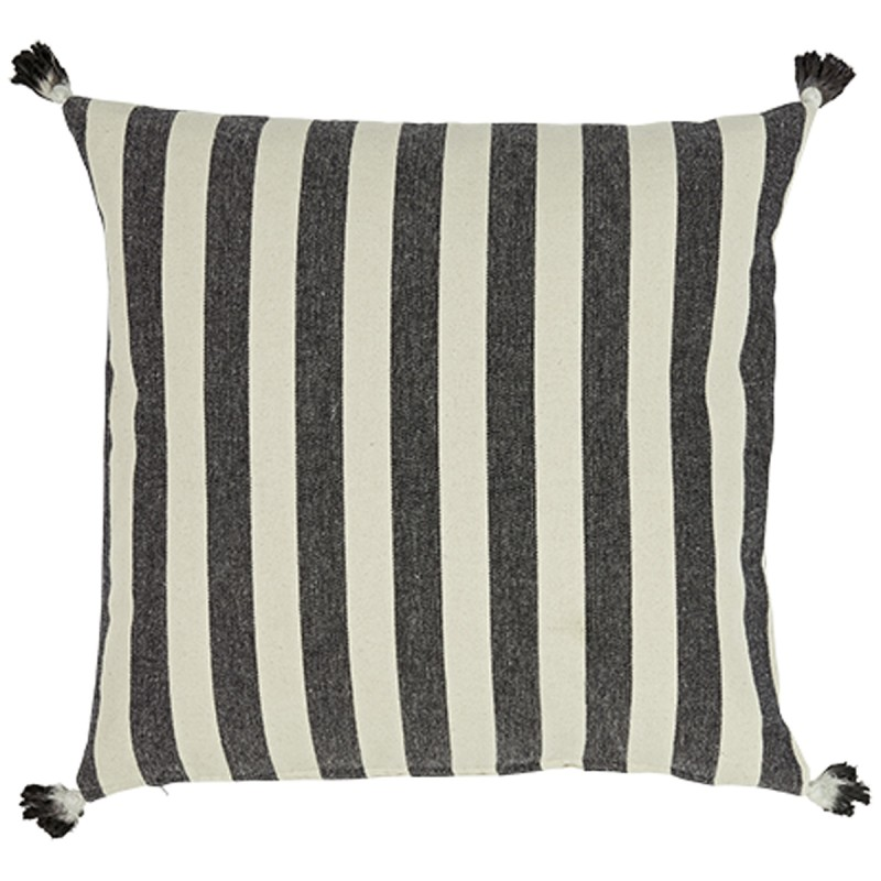 Large Striped Cotton Canvas Cushion