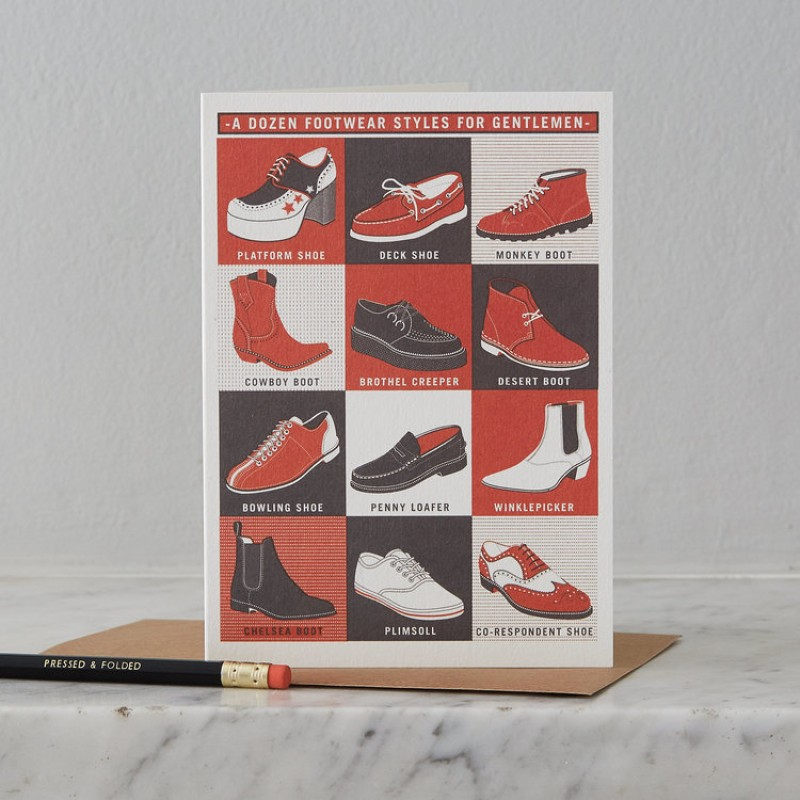 Gentlemen's Footwear Styles Card by Pressed & Folded