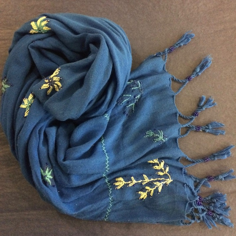 Bedouin Hand-embroidered Blue Shawl