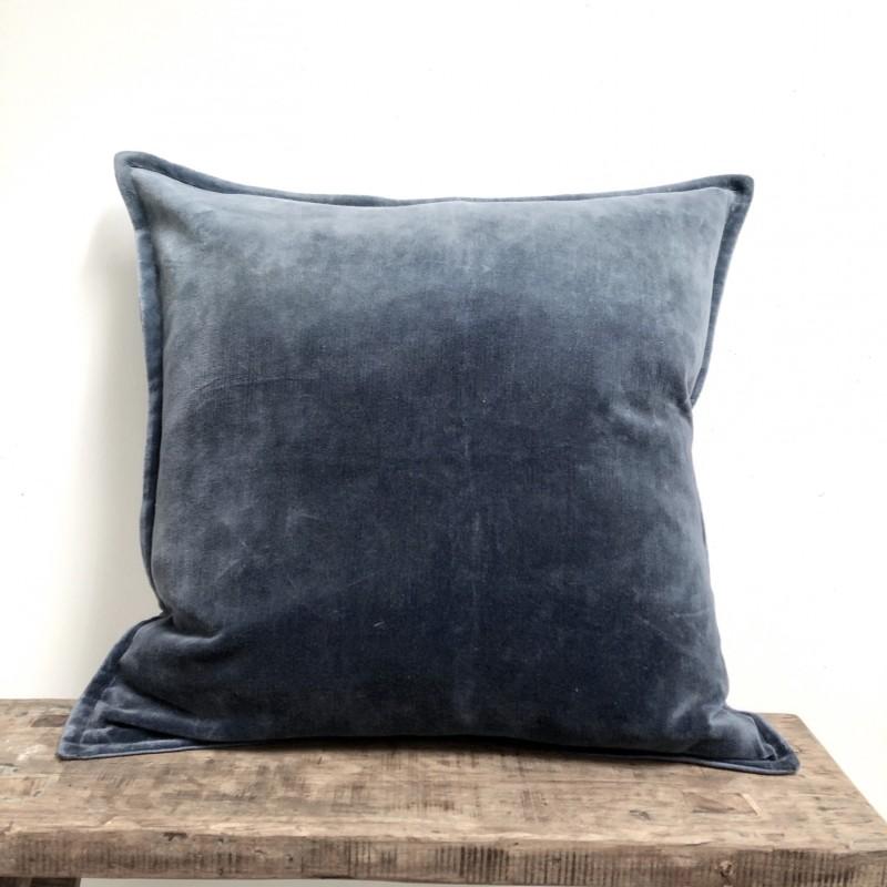 Velvet Ombre Cushion in Denim Blue