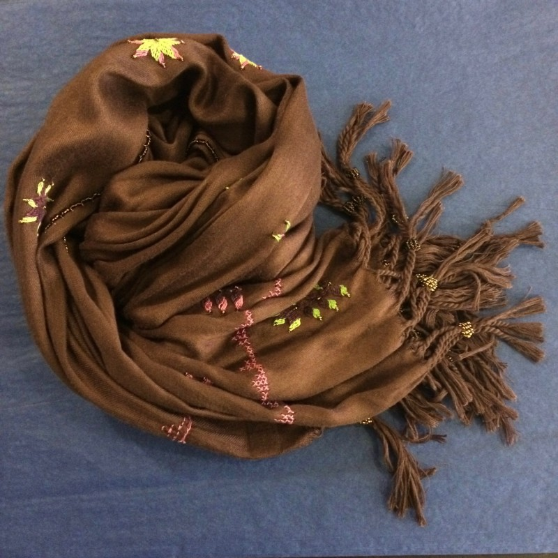 Bedouin Hand-embroidered Deep Brown Shawl