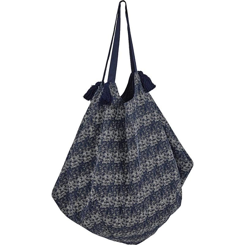 Indigo Palm Pattern Cotton Bag