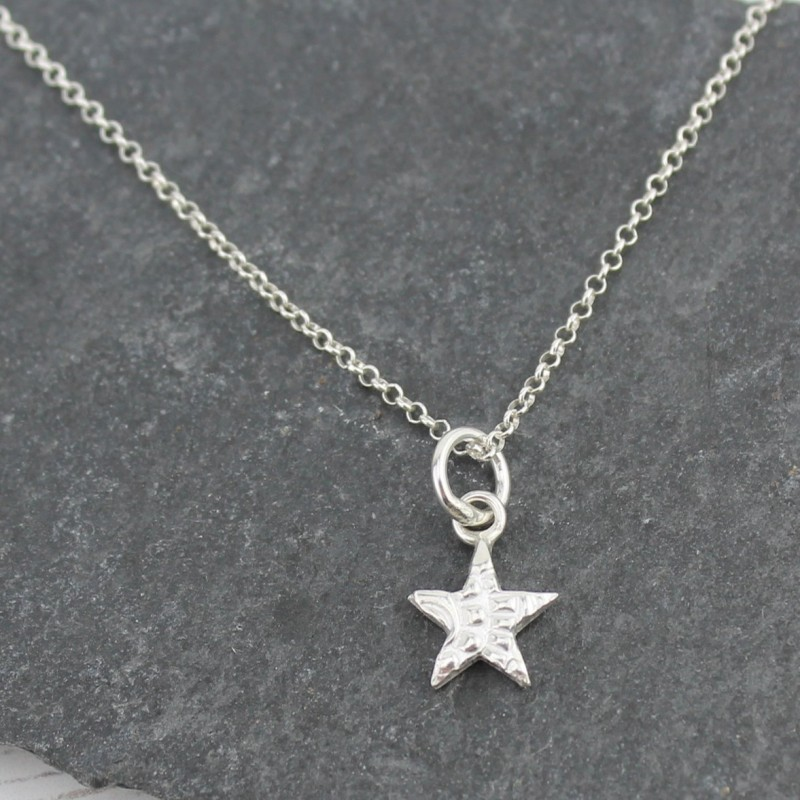 Textured Silver Small Star Pendant by Lucy Kemp