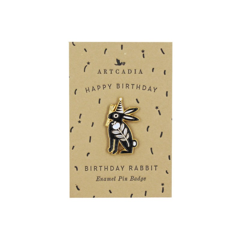 Birthday Rabbit Enamel Pin Badge by Artcadia
