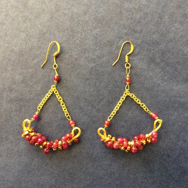 Indian Brass & Glass Bead Earrings