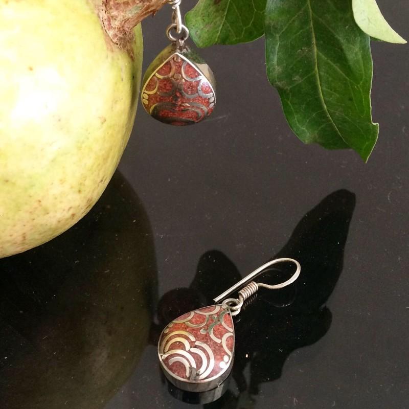 Silver & Pink Stone Teardrop Earrings