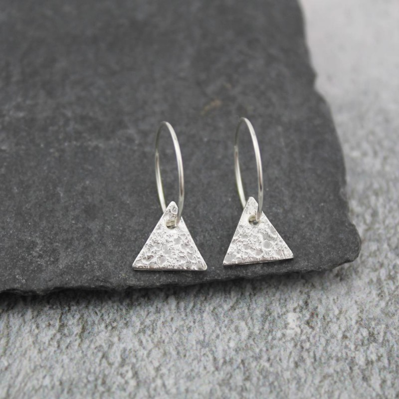 Silver Hammered Texture Triangle Charm Hoops