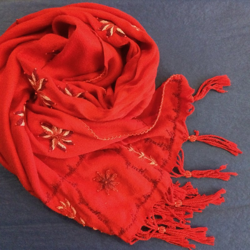 Bedouin Hand-embroidered Bright Red Shawl