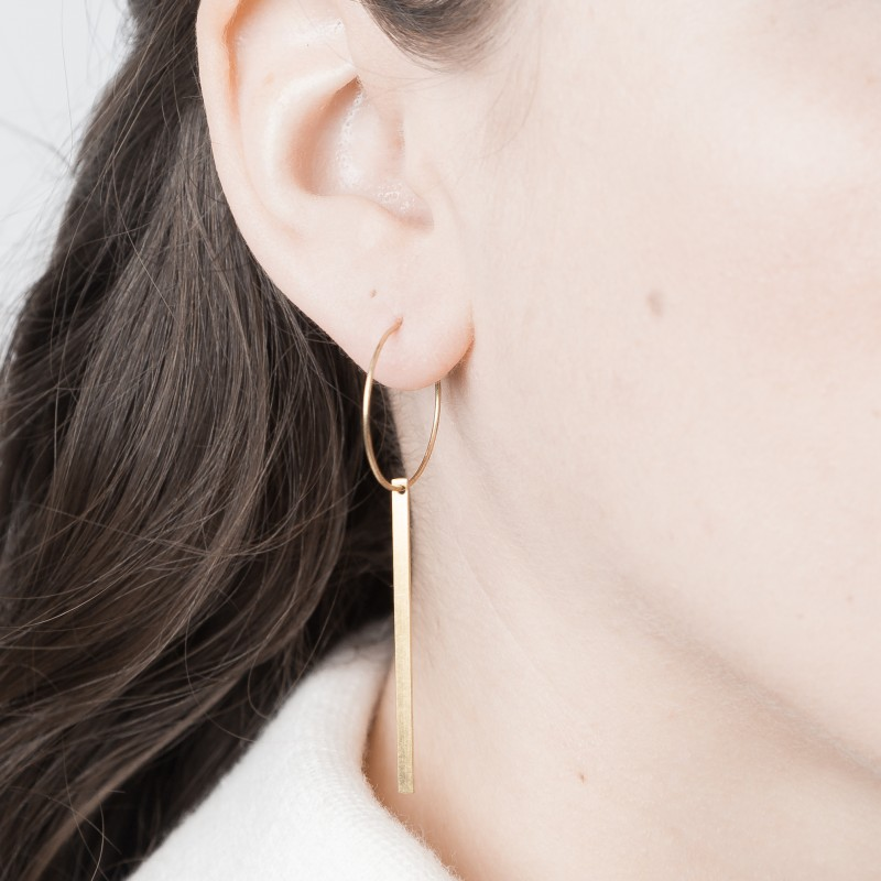 Medium Brass Creole Hoops with Simple Bar