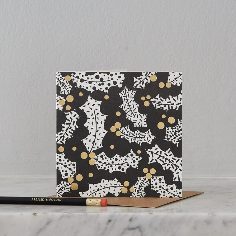 Holly Christmas Card by Pressed & Folded
