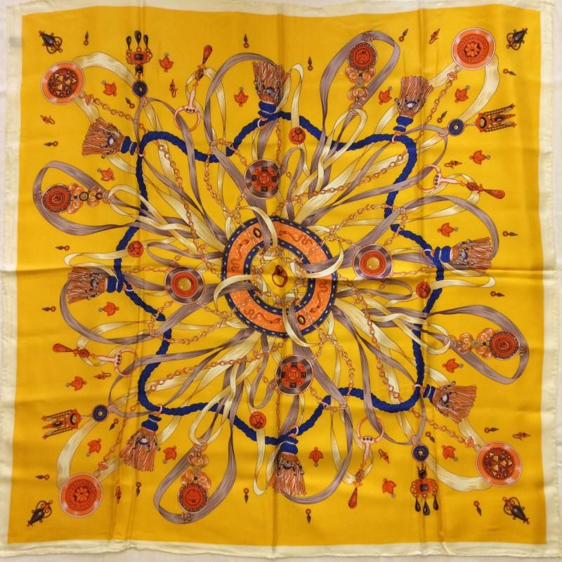 Italian Yellow Patterned Silk Scarf