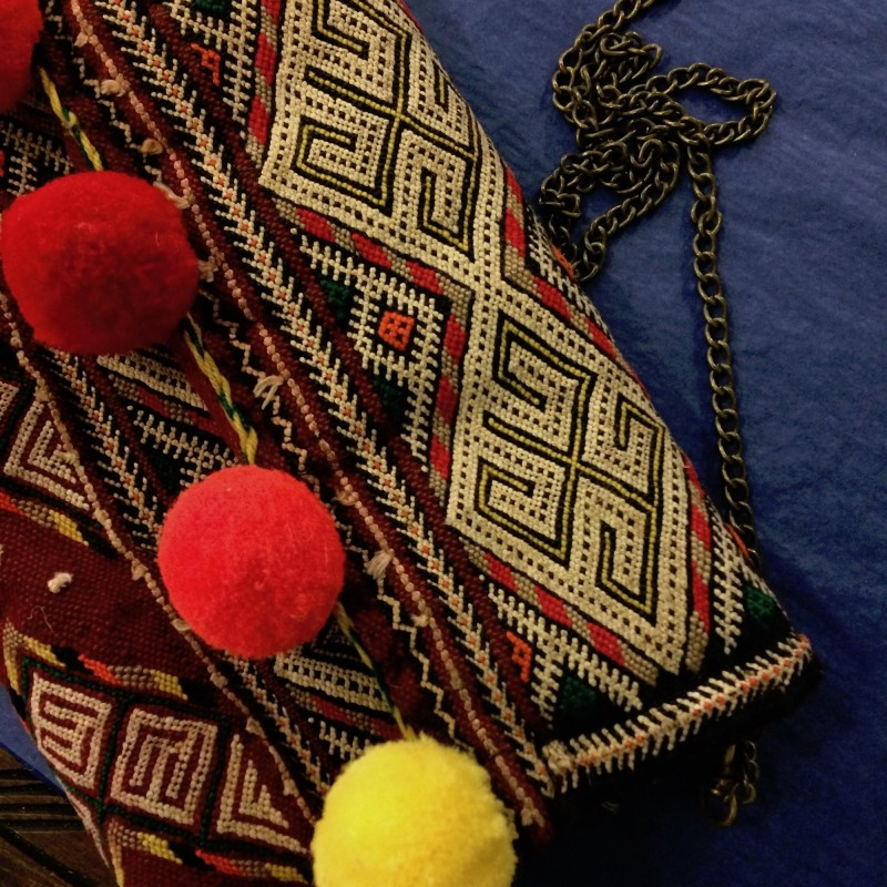 Vintage Moroccan Kilim Handbag with Pompoms