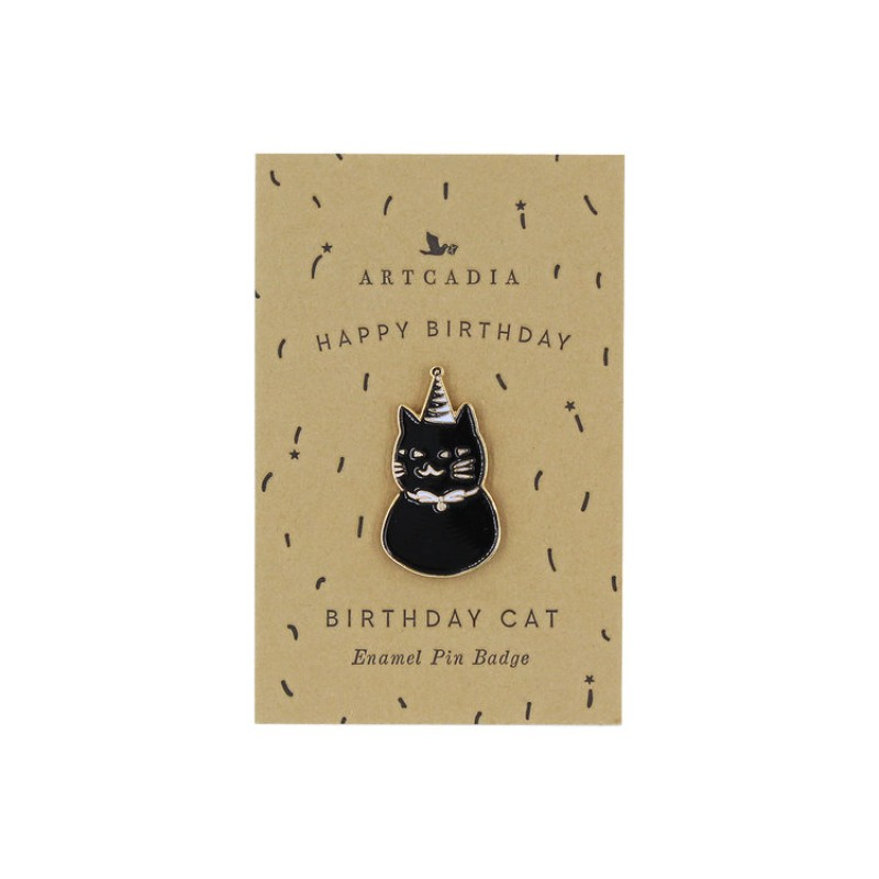Birthday Cat Enamel Pin Badge by Artcadia