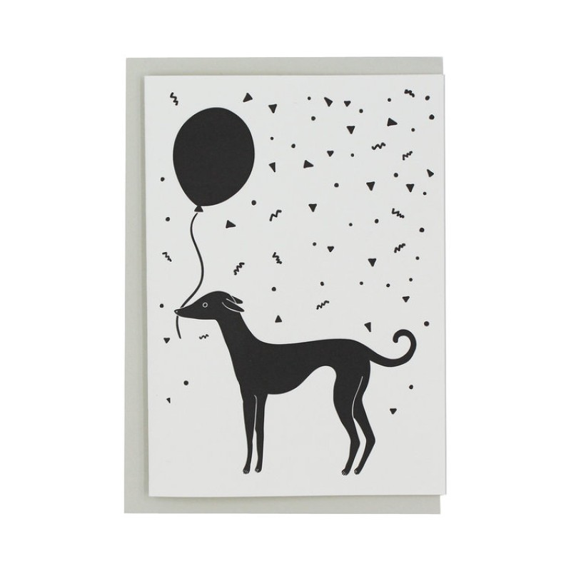 Letterpress Whippet Dog Birthday Greetings Card