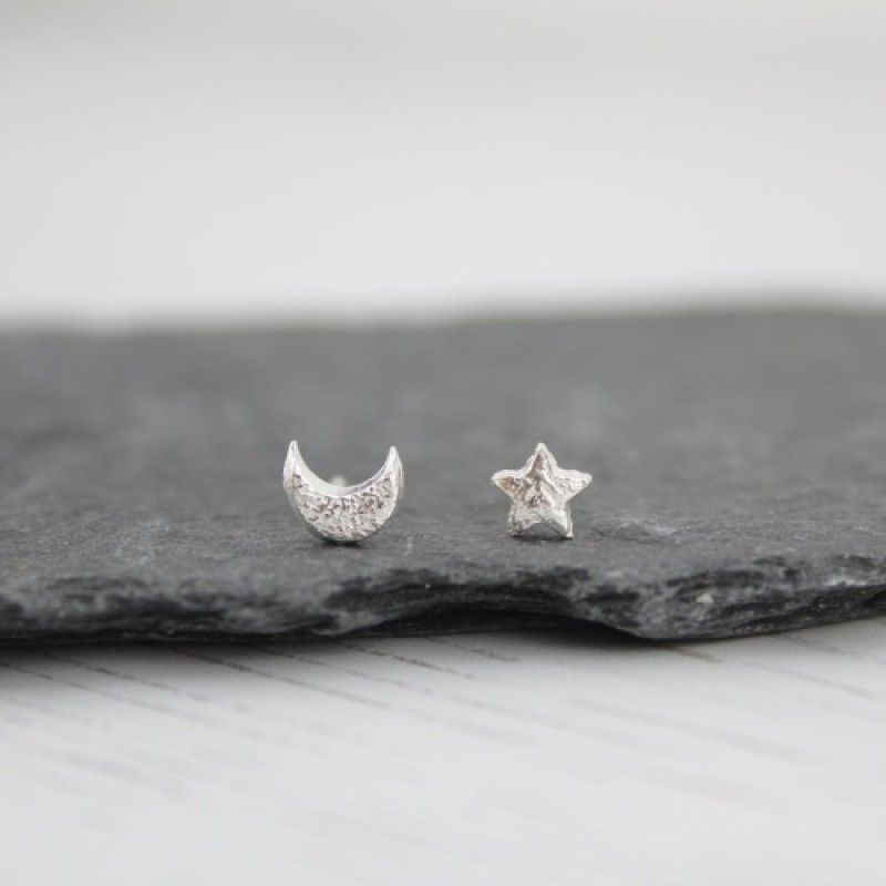 Silver Mismatch Mini Moon and Star Studs by Lucy Kemp