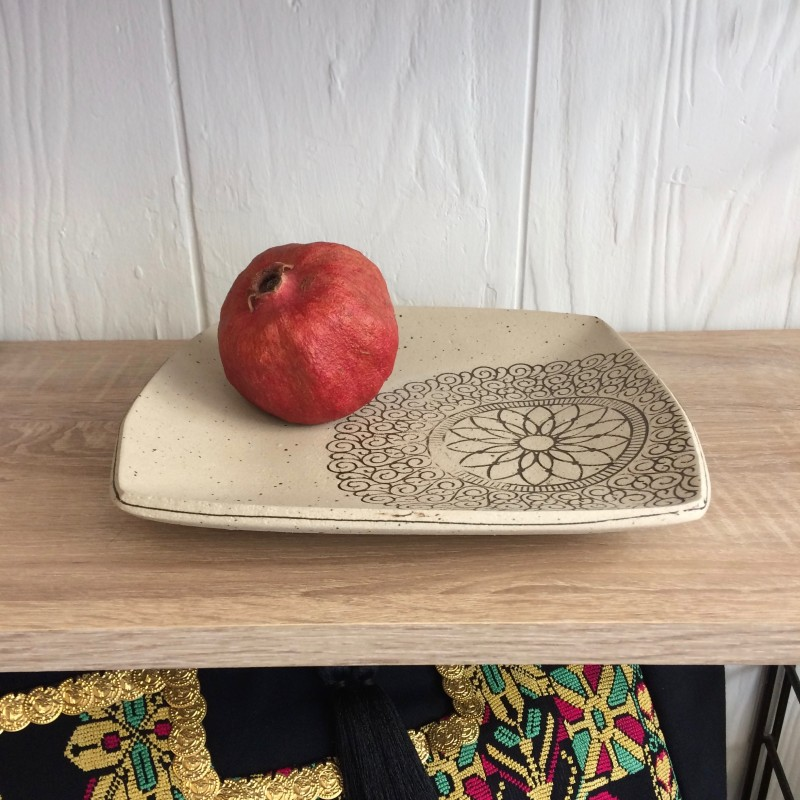 Square Stoneware Platter by Fiona Veacock