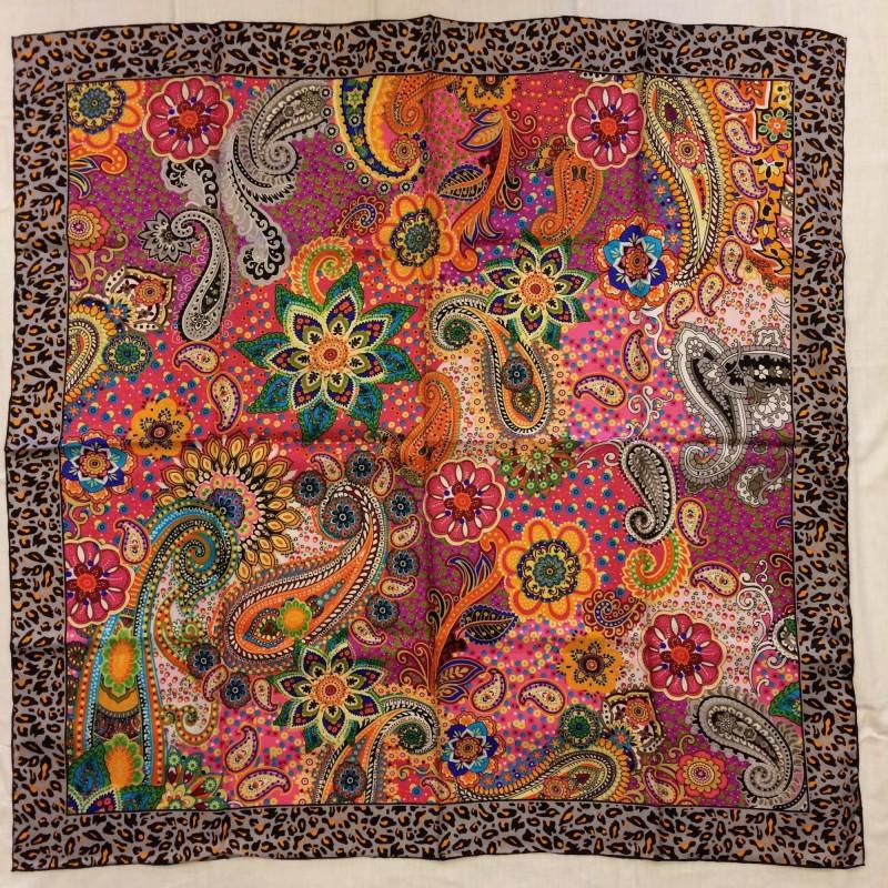 Italian Pure Silk Colourful Scarf with Leopard Print Border