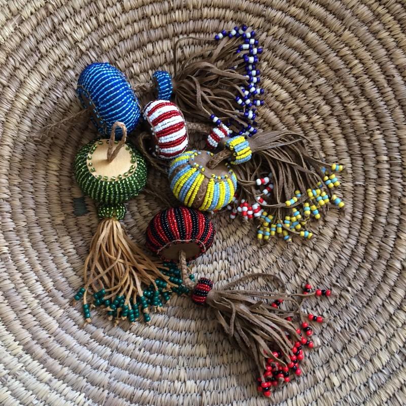Large Egyptian Bead & Leather Ball Tassel