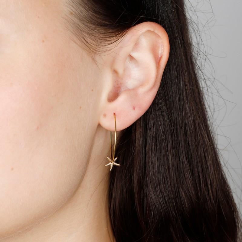 Medium Brass Creole Hoop Earrings with Starfish