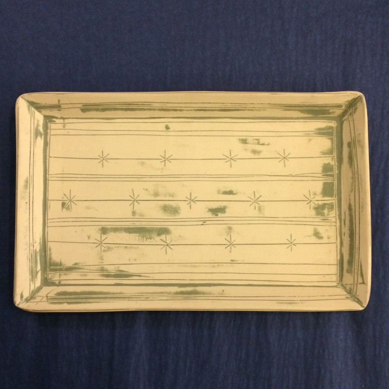 Stoneware Tray-shaped Platter by Fiona Veacock