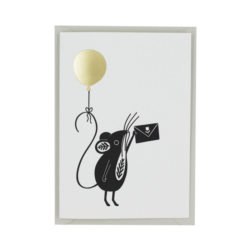 Letterpress Birthday Mouse Greetings Card
