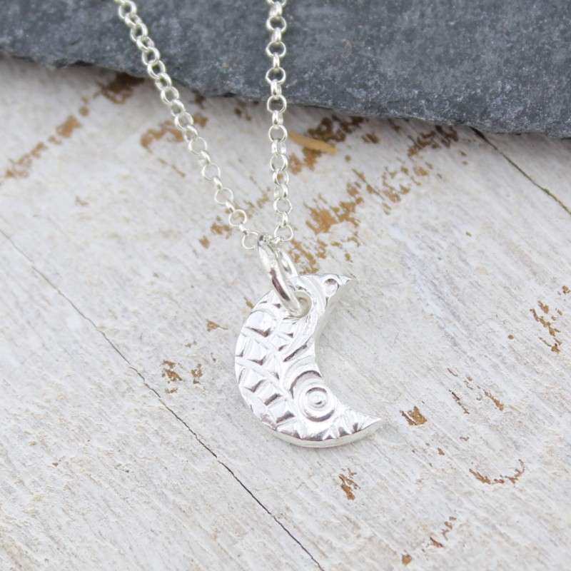 Textured Silver Small Moon Pendant by Lucy Kemp